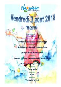 repas du fête du village2018